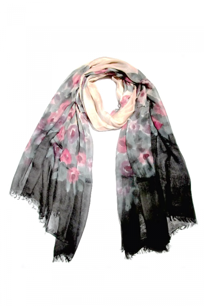 100% Modal Hand Printed Scarf With Self Fringes.