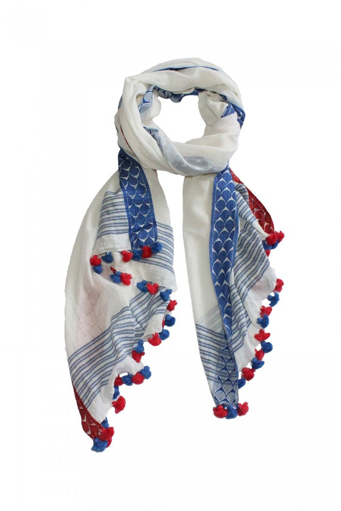 80% Cotton + 20% Viscose Handloom Woven Scarf With Pompom