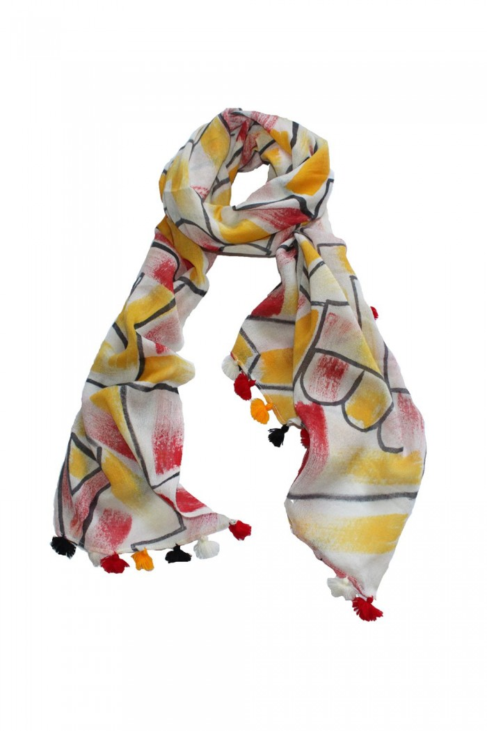 100% Woolen Printed Scarf With Pompom