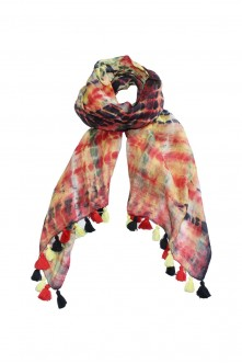 100% Linen Multicolor Shaded Scarf With Pompom