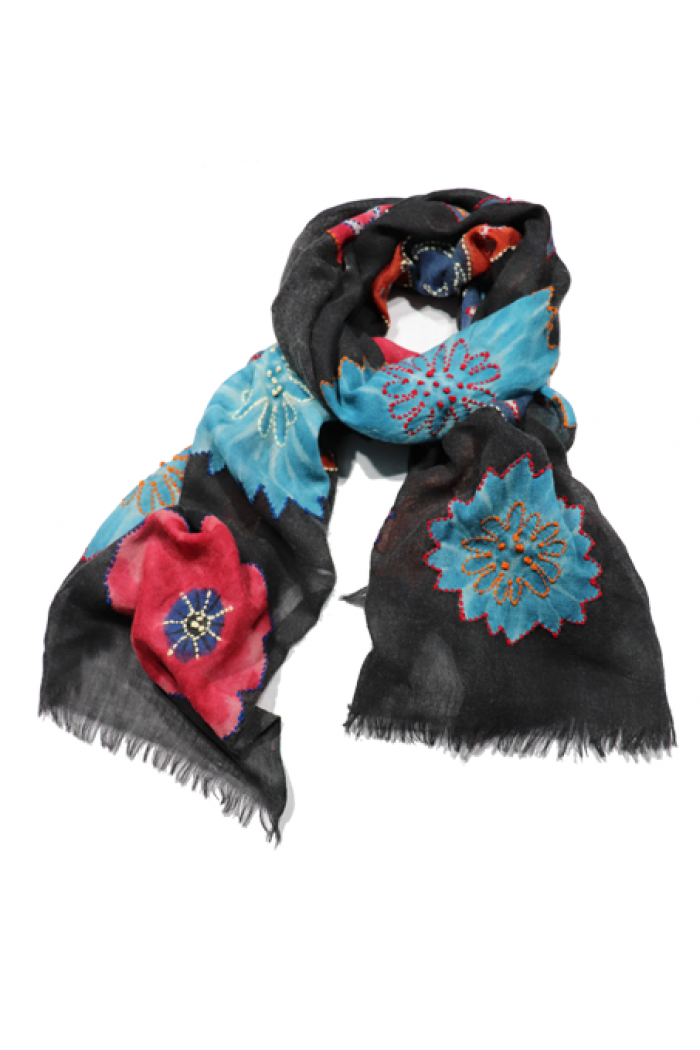 TWILL WOOL HAND PAINTED SCARF WITH EMBROIDERY HIGHLIGHTING