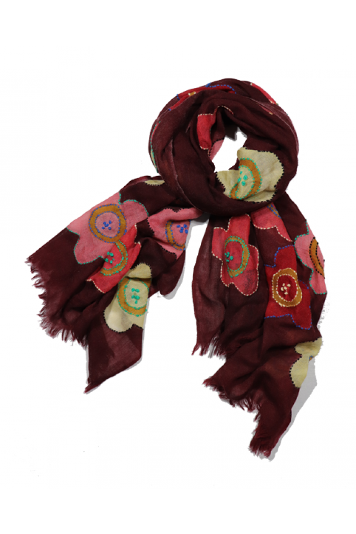 100% Wool With Embroidery Highlighting Scarf