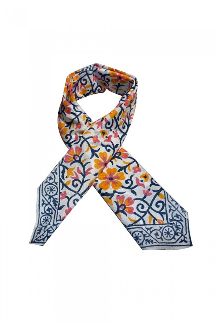 100% Cotton Block Printed Square Scarf