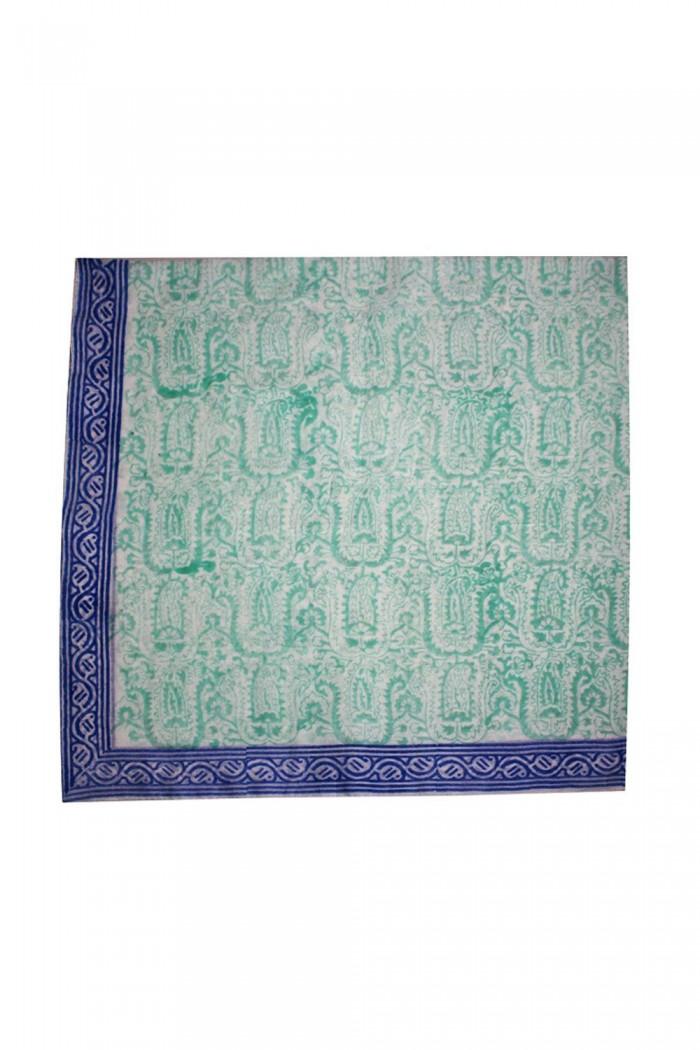 100% Cotton Block Printed Square Scarf