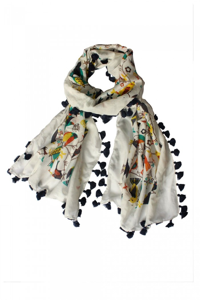 70% Cotton + 30% Silk Screen Printed Scarf With Pompom.
