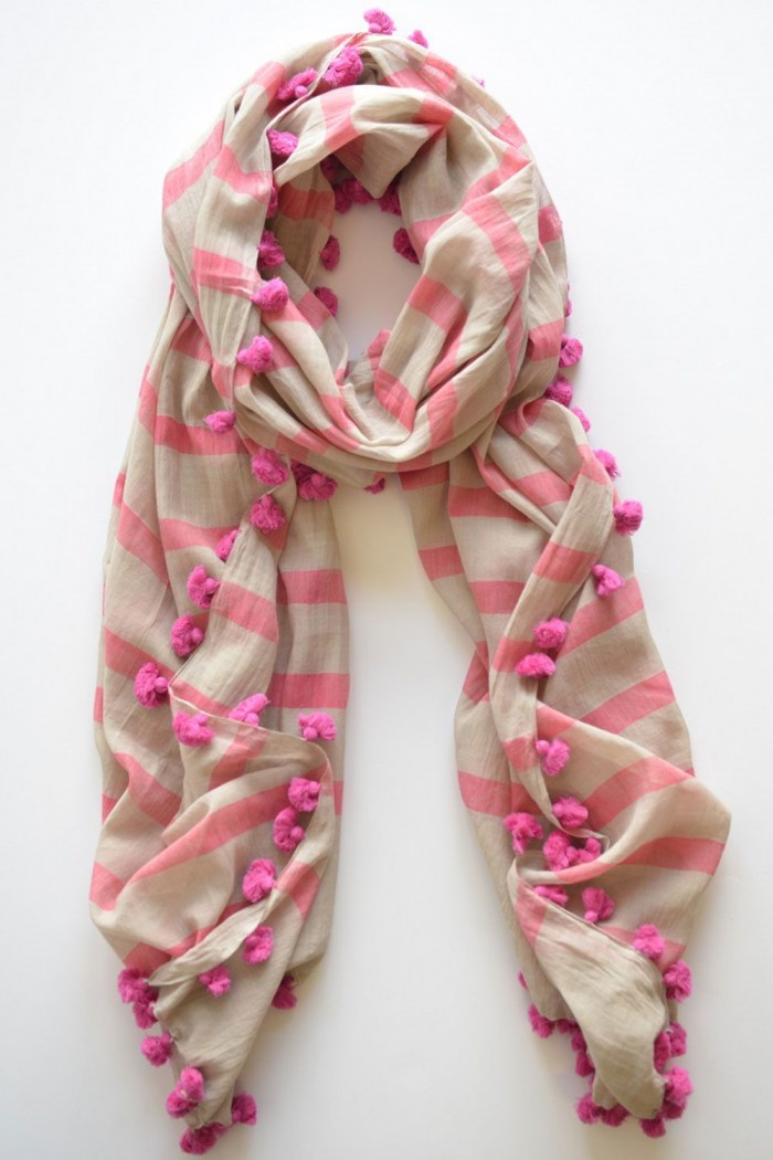 100% Fine Cotton Handloom Woven Scarf With Pompom