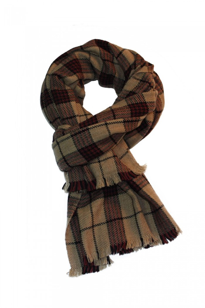 100% Woolen Checks Scarf With Self Fringes.