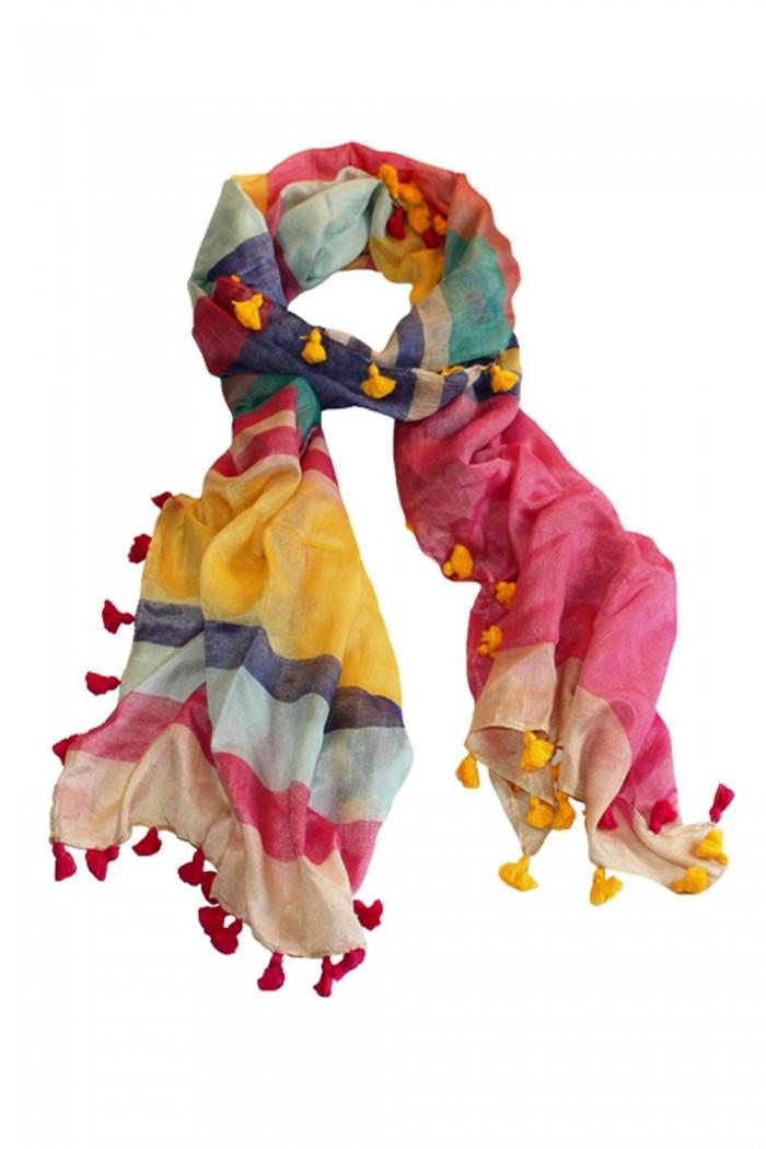 70% Cotton + 30% Silk Handloom Woven Scarf