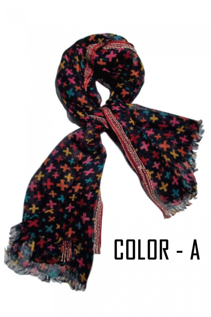 100% Woolen Hand Printed Scarf With Self Fringes.