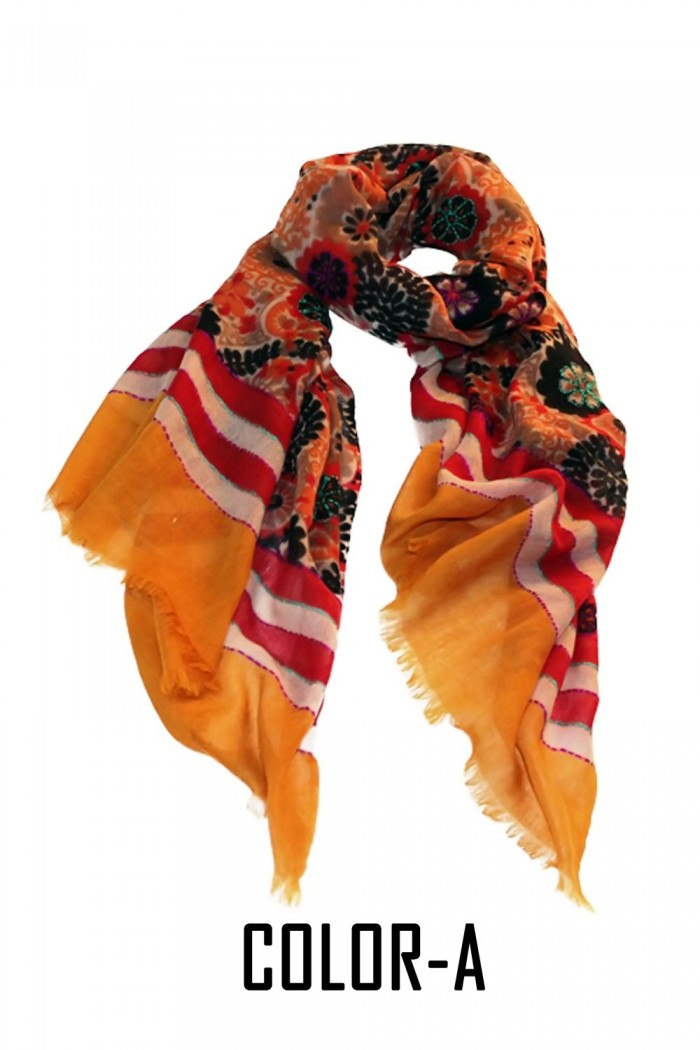 100% Woolen Screen Printed Scarf With Embroidery Highlighting With Self Fringes.