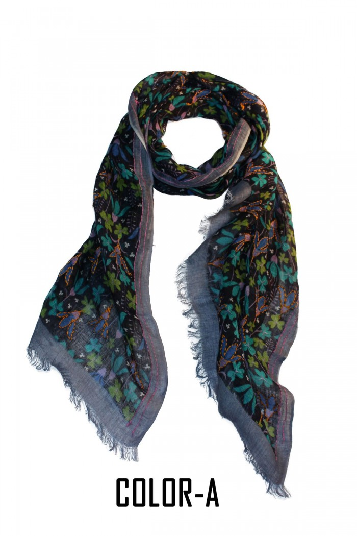 100% Fine Linen Screen Printed Embroidery Scarf