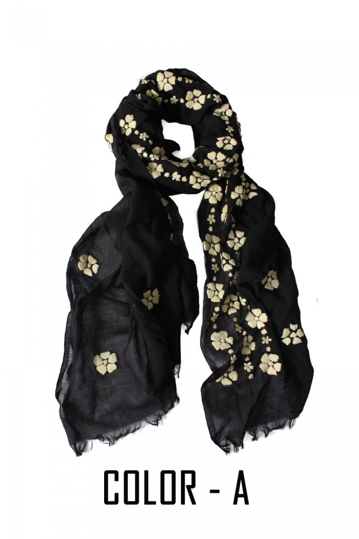 100% Fine Khadi Cotton Hand Embroidery Scarf