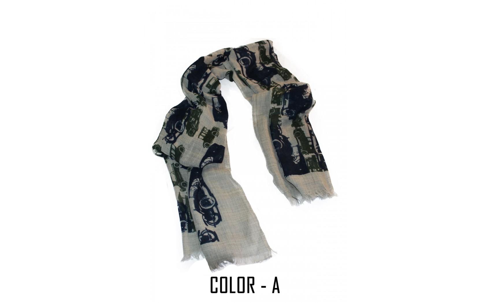 100%  Melange Wool Luxurious Screen Printed Vintage Scarf With Self Fringes.