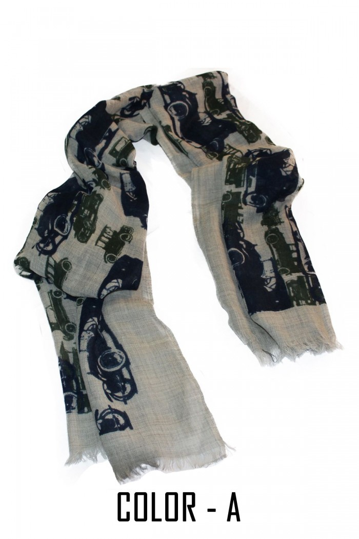 100%  Melange Wool Luxurious Screen Printed Vintage Scarf With Self Fringes.