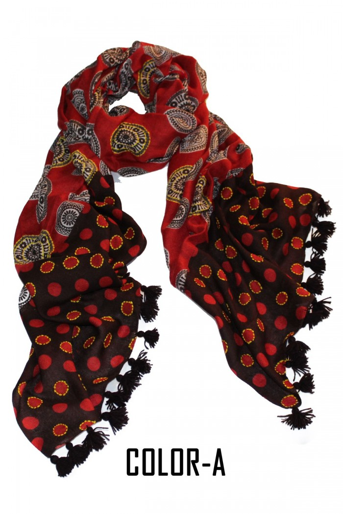 80% Modal + 20% Wool Screen Printed Embroidery Highlighted Scarf With Pompom