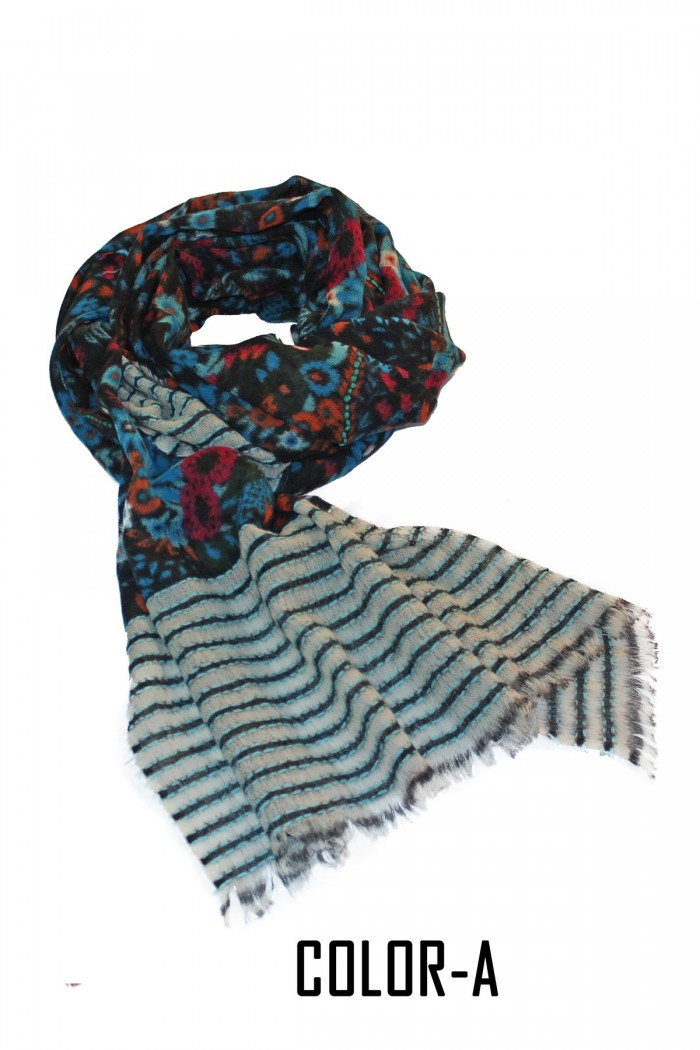 100% Woolen Printed Embroidery Highlighted Scarf With Self Fringes.