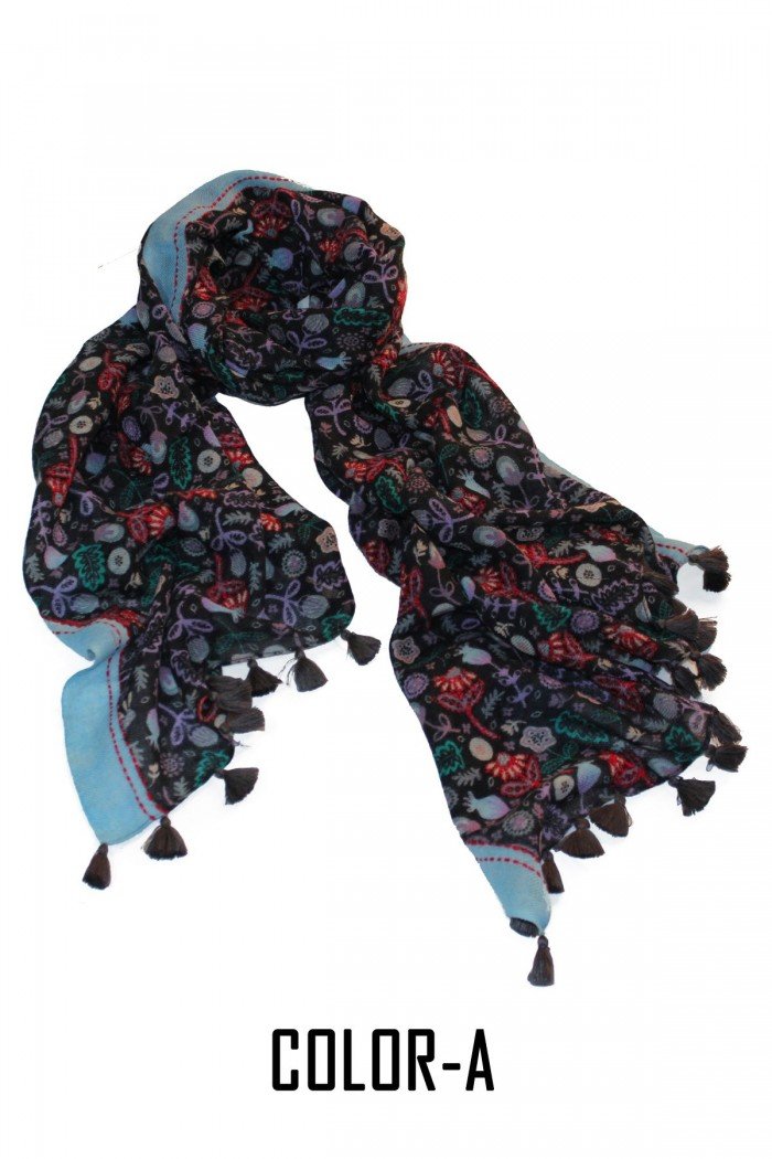 100% Woolen Screen Printed Embroidery Highlighted Scarf With Pompom.