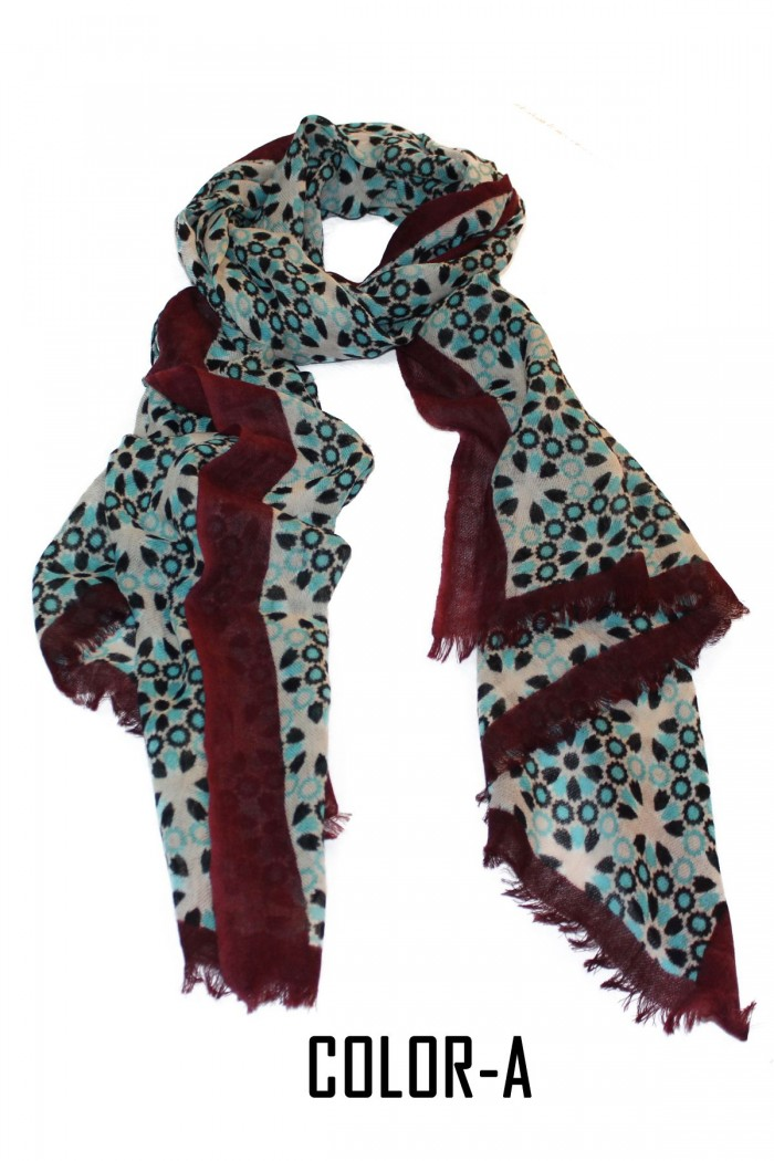 100% Woolen Screen Printed Scarf With Self Fringes.