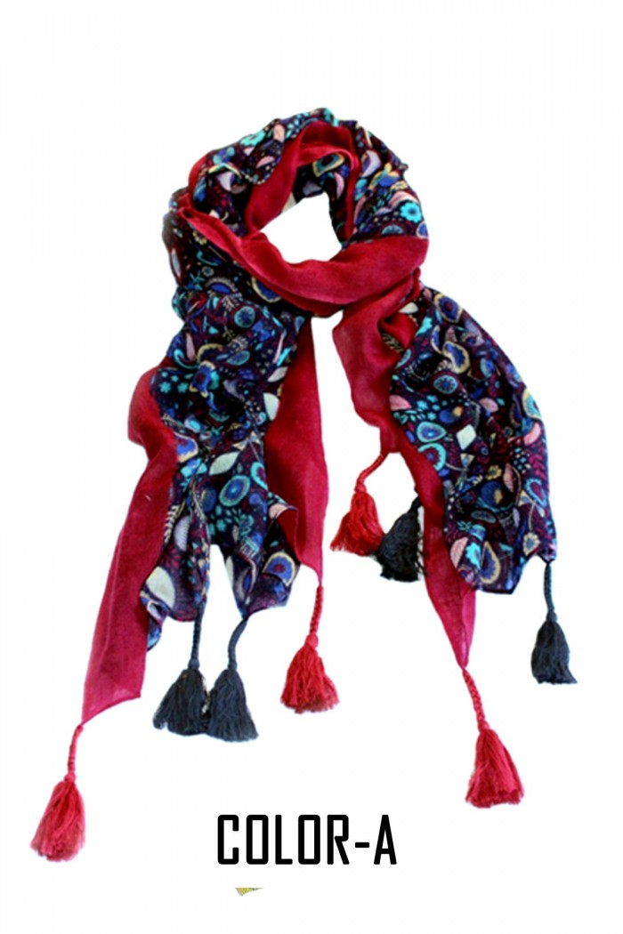 100% Woolen Screen Printed Embroidery Highlighted Scarf With Tassels.