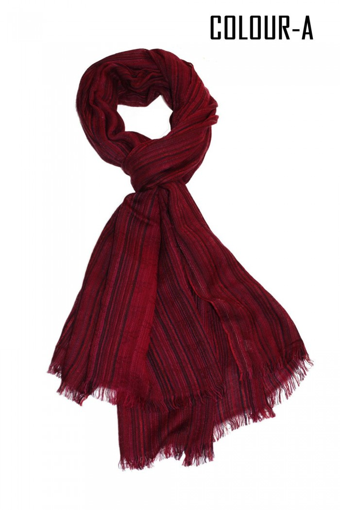 100% Bamboo Scarf With Self Fringes.