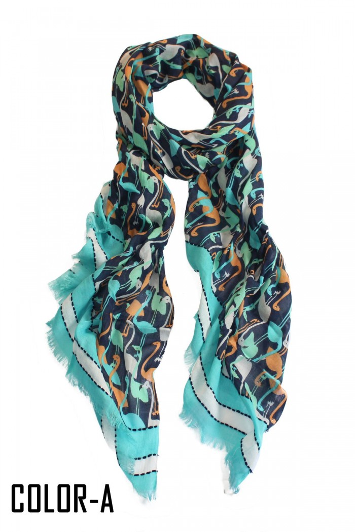 100% Twill Cotton Screen Printed Scarf With Embroidery on Border