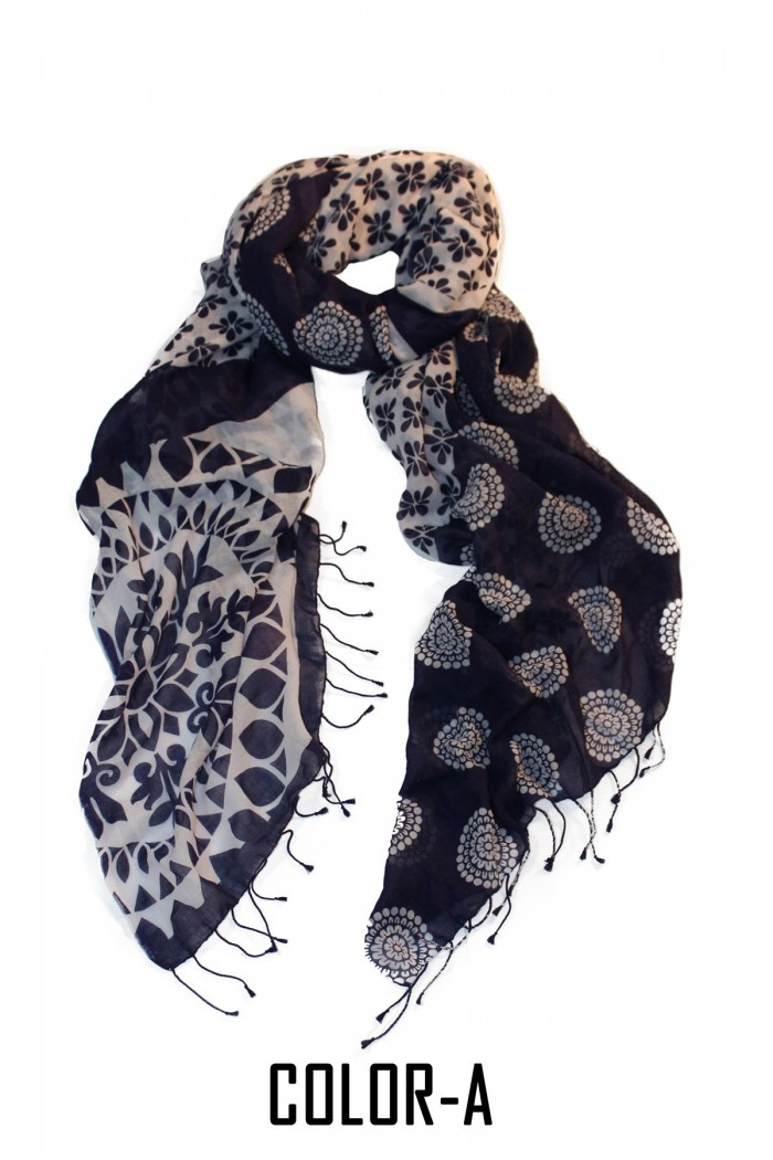 100% Fine Khaadi Cotton Screen Printed Scarf