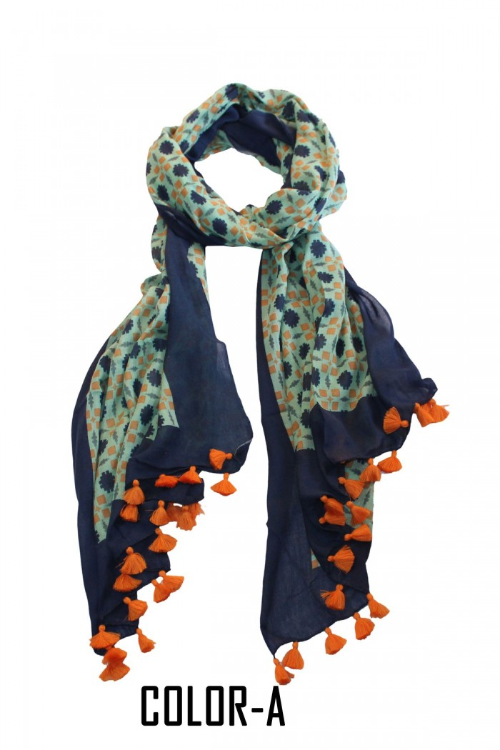 Cotton Modal Screen Printed Scarf With Pompom