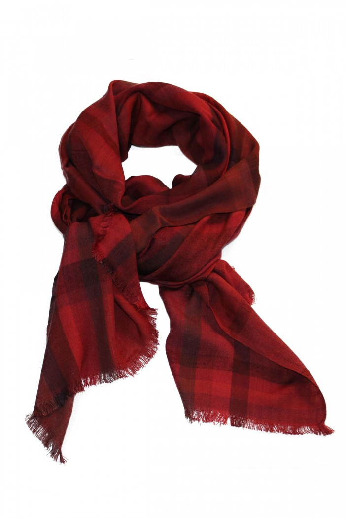 Bamboo Wool Checks Woven Scarf With Self Fringes.